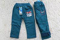 Утепленные котоновые брюки на флисе 1- 2 лет.
