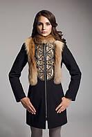 Женское кашемировое пальто с вышивкой и натуральным мехом