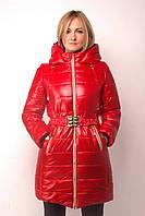 Молодежная удлиненная зимняя куртка-пальто (красный), разные цвета