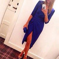 """Платье синее на запах миди """"Свифт - нп44"""""""