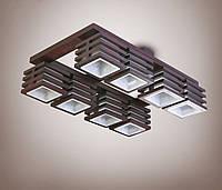 Люстра 8 ламповая, деревянная для большой комнаты, кухни, зала, гостиной