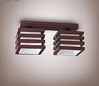 Люстра 2 ламповая, деревянная для небольшой комнаты, кухни, прихожей