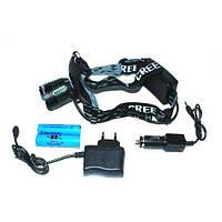 Фонарь на лоб 12V 6968 T6, 2 аккумулятора 18650, налобный фонарик профессиональный
