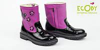 Ортопедические сапожки кожаные демисезонные для девочки Ecoby (Экоби) 215F черный и фуксия