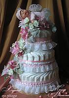 """Торт из памперсов """"Розовое чудо"""" 70 штук"""