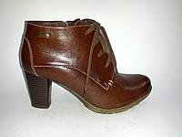 Кожаные польские женские удобные стильные коричневые ботильоны Aga