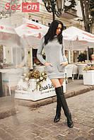 Платье женское теплое с карманами - Серый