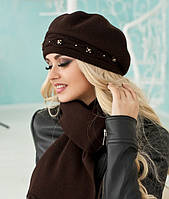 Зимний женский комплект «Элеганс» (берет и шарф) Коралловый