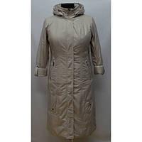 Длинная женская куртка демисезонная с капюшоном большого размера