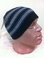 мужская спортивная шапка  на флизе с серыми полосками