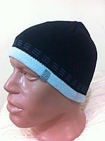 Черная мужская спортивная шапка  на флизе