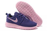 Кроссовки женские, подростковые Nike Roshe Run, сетка, фиолетовый, Р. 36  37 38