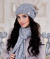 Зимний женский комплект «Эйфория» (шапка, шарф) Светло-серый