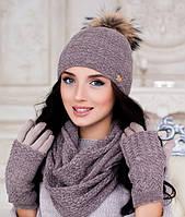 Зимний женский комплект «Аризона» (шапка, шарф восьмерка и перчатки) Темный кофе