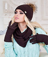 Зимний женский комплект «Аризона» (шапка, шарф восьмерка и перчатки)