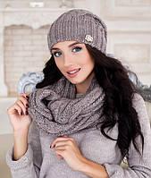 Зимний женский комплект «Эмми» (шапка и шарф восьмерка) темный кофе