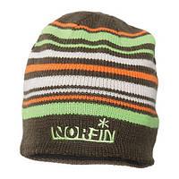 Шапка вязаная мужская Norfin коричневая в полоску (302772-BR)