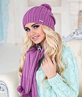 Зимний женский комплект «Монблан» (шапка и шарф) Брусничный