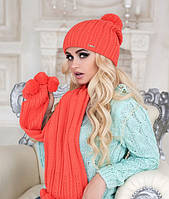 Зимний женский комплект «Монблан» (шапка и шарф) Коралловый