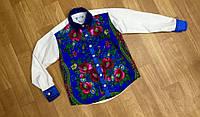 Рубашка  мужская комбинированная с платочной отделкой и атласными вставками