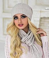 Зимний женский комплект «Ясмин» (шапка и шарф) Светлый кофе