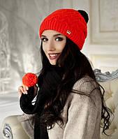 Зимний женский комплект «Стефани» (шапка и шарф) Коралловый + Черный