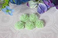 """Кабошон (серединка) """"Роза"""" 2 см диаметр """"мята"""" с зеленцой цвета"""