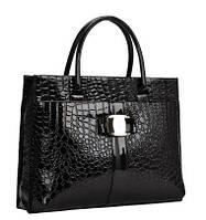 Лаковая сумка с текстурой под рептилию, 2 формы