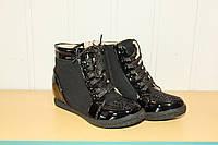 Демисезонные ботинки-сникерсы на девочку черные(30-36)