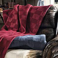 Вязаный плед/покрывало 160х220 из хлопка EDINBURG CASUAL AVENUE, RED WINE/темный вишневый