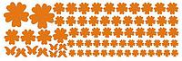 """Наклейка на стену, виниловые, стикеры """"Оранжевые цветы"""" 108 цветочков и 6 бабочек в наборе лист20*50см"""