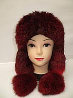Женская стильная меховая шапка ушанка