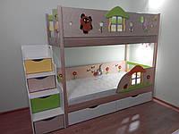 Двухъярусная кровать из ясеня с лесницей - комодом для двоих деток!