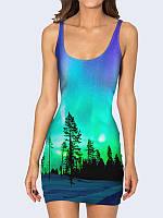 Женское 3D  Платье Зимние сосны