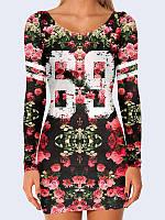 Женское 3D  Платье Розы 69