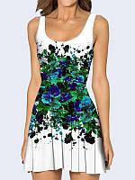 Женское 3D  Платье Синие цветы краски
