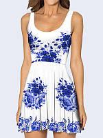 Женское 3D  Платье Синий цветочный принт