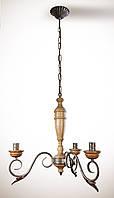 Люстра деревянная, 3 ламповая, на цепи
