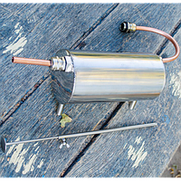 Медный змеевик/холодильник, дистиллятор к самогонному аппарату, на подставке, корпус - нержавейка