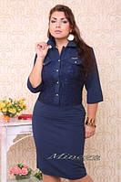 Платье женское нарядное ворот рубахи трикотаж+гипюр размеры 48,50,52,54