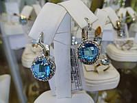 Серьги серебряные с большим голубым камнем