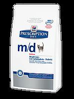 Корм для котов Hills PD Feline M/D 1,5 кг хиллс для котов при сахарном диабете и ожирении