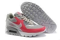 Женские кроссовки для тенниса Nike Air Max 90 Hyperfuse серо-красные Оригинал