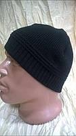 Стильная мужская шапка  для спорта  двойная цвет черный