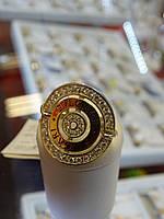 Кольцо серебряное с золотой вставкой и куб.цирконием