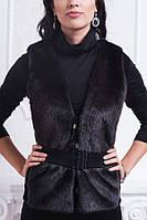 Роскошная женская жилетка черного цвета прямого кроя