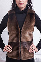 Теплая женская жилетка из качественного исскуственного меха с поясом