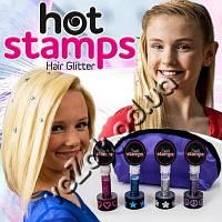 Мгновенная краска тату для волос татуировка Hot Stamps 4 цвета 4 узора