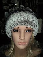 """Шапка из кролика шиншиллы-рекса модель """" Вероника"""""""