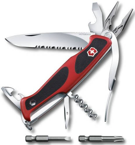 Армейский карманный складной нож Victorinox RangerGrip 174 Handyman 09728.WC красный